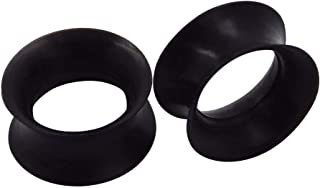 1 Pair Black/White Soft Silicone Flexible Ear Skin Tunnels Plugs Expanders Gauges Hollow Body Piercing 2G-3/4