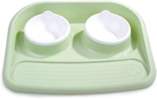 Auoker Unspillable Dog Bowl, Double Spill Proof Dog Bowl with Plastic Mattress, No Mess Food and Water, Safe PP, No Fade No Spill for Small and Medium Dogs Cats and Other Pets
