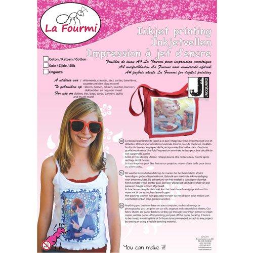 La Fourmi Baumwolle Blatt, A4, für Tintenstrahldrucker, 3 Stück, Weiß, standart