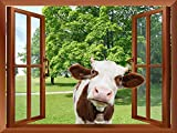 wall26 - A Cow Sticking its Head into an Open Window   Removable Wall Sticker/Wall Mural - 24'x32'