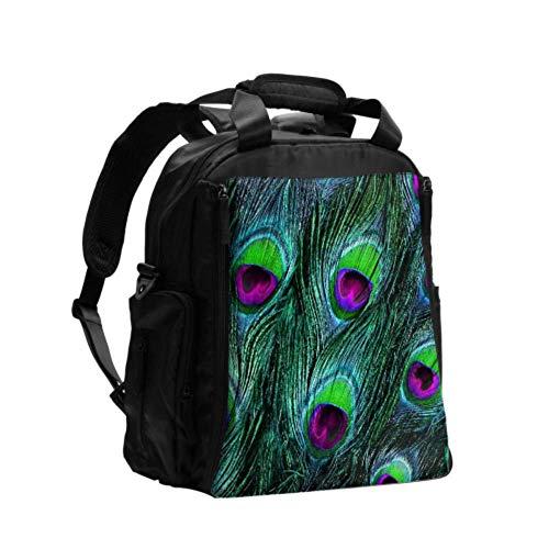 Ausgefallene Wickeltasche Rucksack Schöne Pfauen- und Vogelfeder-Wickeltasche für Männer Multifunktions-Reiserucksack mit Wickelunterlage für die Babypflege