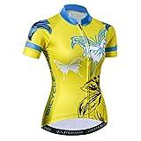Weimostar Ciclismo maglia Donne Bici Sport All'aperto Ciclo di corsa Abbigliamento Farfalla Giallo XL