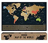 envami Carte du Monde a gratter I 68 X 43 CM I dorée I Planisphere Monde I Map Carte Monde I Carte...