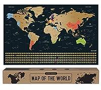 🎁 DAS PERFEKTE GESCHENK - Mit jedem Blick auf die Rubbel Weltkarte werden Urlaubs-Erinnerungen geweckt. Das macht Lust auf mehr! Wohin geht das nächste Abenteuer? 🥇 PREMIUM METALLIC GOLD - Echter Gold-Rubbellack, keine blassen Farben. Die perfekte Fa...