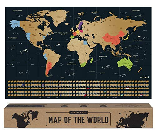 envami Mappa del Mondo da Grattare I 68 X 43 CM I Idee Regalo I mappamondo da grattare con Bandiere I Scratch off Map I Mappa da grattare I Cartina Mondo da grattare I Oro Inglese