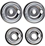 Replacement W10196405 W10196406 Drip Chrome Pan Set Compatible With Whirlpool And Kenmore Range 4 Pack (2) 8' (2) 6'