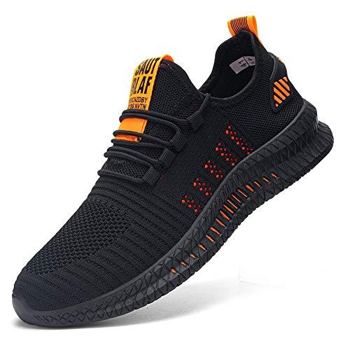 Zapatoes de Seguridad Hombre Zapatos de Trabajo Zapatillas con Punta de Acero Cómodos Ligeros y Transpirables(Naranja Negro 88, 44)