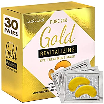 Cedlize Under Eye Collagen Patch 24K GOLD ANTI-AGING MASK Pads For Puffy Eyes & Bags Dark Circles and Wrinkles With Hyaluronic Acid Hydrogel Deep Moisturizing Improves Elasticity 30 PAIRS