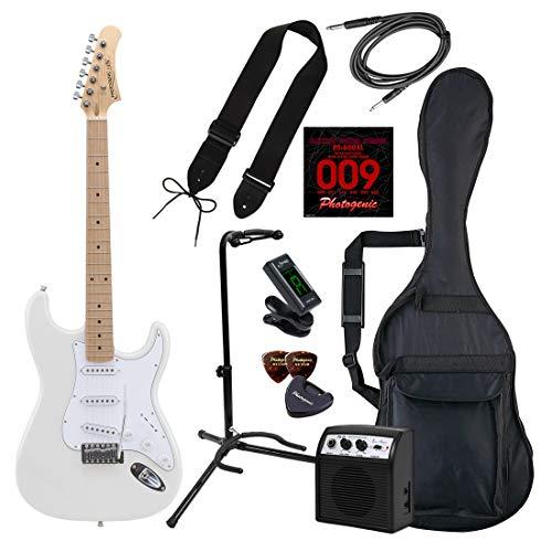 PhotoGenic フォトジェニック エレキギター 初心者入門ライトセット ストラトキャスタータイプ ST-180M/WH ホワイト + ギタースタンド付き