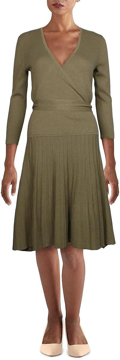 LAUREN RALPH LAUREN Womens High Twist Ribbed Sweaterdress