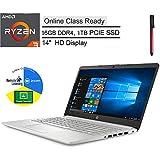 "HP 14"" HD Laptop Computer, AMD Ryzen 3 3250U up to 3.5GHz (Beat i3-7100U), 16GB DDR4, 1TB PCIe SSD, Camera, Microphone, Online Class Ready, AC WiFi, Bluetooth, Windows 10 S, BROAGE 64GB Flash Drive"