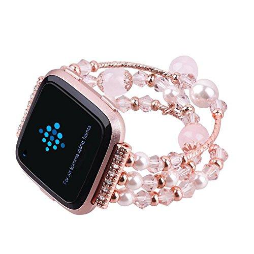 kingko® 160mm mit Einstellbarer Länge Mode Sport Perlen Armband Strap Band für Fitbit Versa große Größe (Pink)