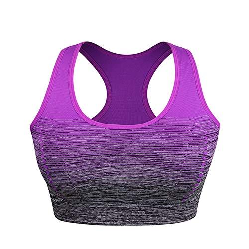 Sujetador Deportivo para Mujer Correr Chaleco de Yoga Bra Pad Ropa Interior, Fitness Top Transpirable Capacitación Chaleco (Color : Purple, Size : 1-L)