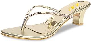 NUYG Women Strappy Thick Low Heels Sandals Rhinestones Thong Slippers Elegant Summer Flip Flops