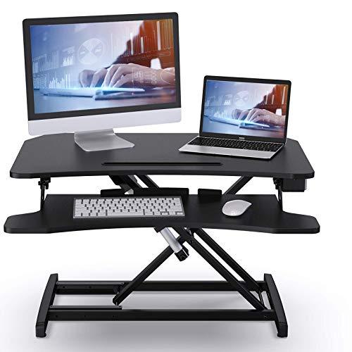 ABOX Sitz-Steh-Schreibtisch, Elektrisch Höhenverstellbarer Schreibtisch-Aufsatz mit Einem Tastendruck, Sit-Stand Workstation mit Abnehmbarer Tastaturablage, Tischplatte 85 x 51cm, Schwarz
