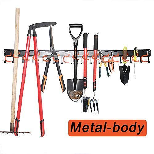 Garden Tool Organizer,All Metal Garage Organizer,Adjustable Storage System,Garage Wall Organizer for Rake,Broom and Yard Tools (Black 51'')
