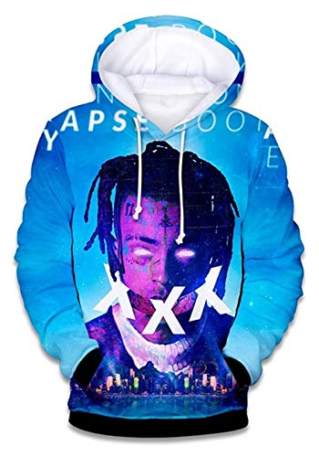 Rapero conmemorativo XXX Merch Hip Hop Hoodie Pullover Sudadera, el Mejor Recuerdo (Color : Blue, Size : M)