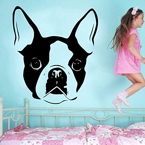 hetingyue Boston Terrier Hund Kopf Porträt niedlichen Vinyl Wandkunst Aufkleber Wandaufkleber Wohnzimmer Schlafzimmer Hauptdekoration Wandbild 42x45cm