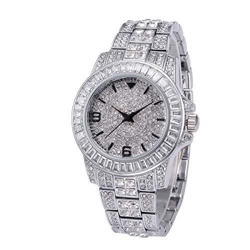 LVYI MISSFOX De Diamantes De Los Hombres De Renombre Gama Alta Relojes De Acero Inoxidable Resistente Al Agua De Diamante Lleno De Mesa Inglés (Color : Silver)