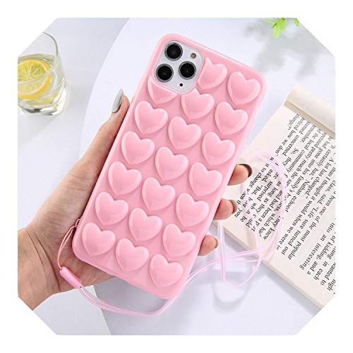 3D Love Heart Case For iPhone 11 Pro Max XR XS Max 7 8 6 6S Plus Candy Color With Lanyard Strap Silicone Soft Back Cover-Pink-For iPhone 7