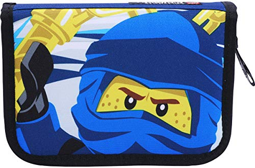 LEGO Bags Federmäppchen NINJAGO Jay, Federmappe 20 teilig gefüllt, Federtasche mit Lego Motiv, Stiftebox blau, Schüleretui mit Inhalt, Schul Etui mit Namensfeld, Stundenplan, Lineal und Anspitzer