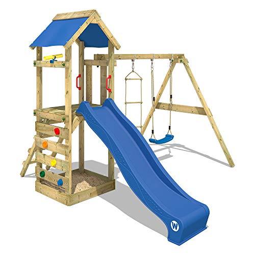 WICKEY Spielturm Klettergerüst FreeFlyer mit Schaukel & blauer Rutsche, Kletterturm mit Sandkasten, Leiter & Spiel-Zubehör