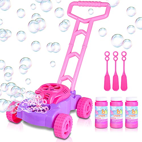 ArtCreativity Pink and Purple Bubble Lawn Mower for Toddlers   Electronic Bubble Blower Machine   Fun Bubbles Blowing Push Toys for Kids   Bubble Solution Included   Birthday Gift for Girls