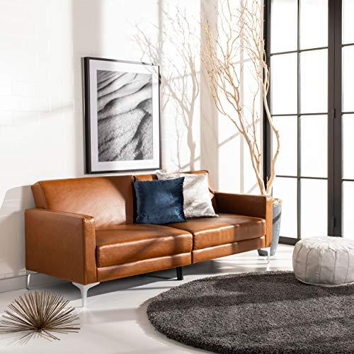 Safavieh Home Chelsea Modern Cognac and Chrome Foldable Futon Sofa Bed