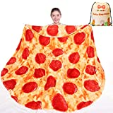 mermaker Pizza Blanket 2.0 Double Sided 60 inches for Adult and Kids, Novelty Realistic Pizza Food Throw Blanket, 285 GSM Soft Flannel Blanket
