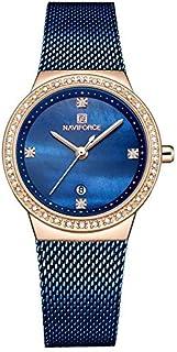 ساعة بمينا ازرق وسوار ستانلس ستيل مشبك وعرض انالوج للنساء من نافي فورس، موديل NF5005-RGBE