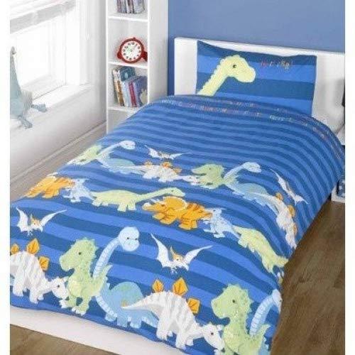 Universaltextilien Kinder Bettwäsche Set, Dinosaurier (Einzelbett) (Blau)
