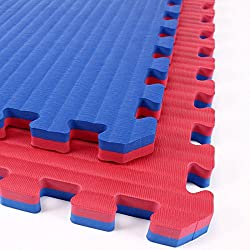 IncStores - Tatami Foam Tiles (Red/Blue, 4 Tiles) - Extra Thick mats Perfect for Martial Arts, MMA, Lightweight Home Gyms, p90x, Gymnastics, Yoga, Cardio, Aerobic, and Exercises
