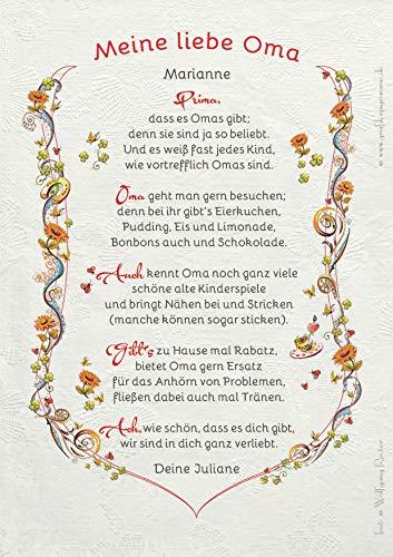 Die Staffelei Geschenk-Geburtstag-Urkunde Meine Liebe Oma, Zeichnung mit humorvollem Gedicht, Omi, Großmama A4 Bild-Präsent, personalisiert durch Wunschtext- inklusive!