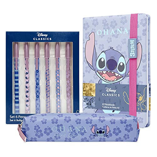 Disney Stitch Set Papeleria, Incluye Estuche Escolar, Cuaderno A5 y Set de 6 Bolígrafos Bonitos, Regalos Originales para...