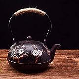 Gusseisen Kettlecooker Teekanne mit Sieb Tee Topf Tee Kaffeemaschine Bequeme Büro Pot 1.2L (Color : Purple Pink)