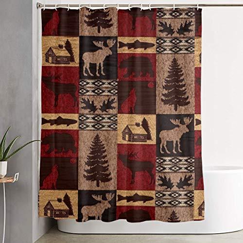Lodge Bear Deer Fish Shower Curtain Polyester Fabric Waterproof Bathroom Decor Set Washable with 12 Hooks, 60 X 70 Inch