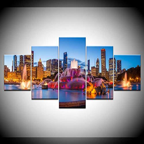 LANKOULI Bilder Dekoration Rahmen HD Drucke 5 Stück Brunnen Landschaft Poster Wandkunst Modulare Gemälde Leinwand-Size2 Frame