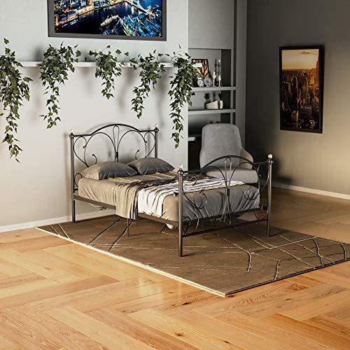 Vida Designs Barcelona Small Double Bed, 4ft Bed Frame Metal Headboard High Foot End Bedroom Furniture, Black