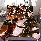 N \ A Batman Vs-Superman - Juego de funda de edredón y 2 fundas de almohada (3 piezas, 100% fibra de poliéster, 1 funda de edredón y 2 fundas de almohada (140 x 210 cm + 50 x 75 cm x 2, A03)