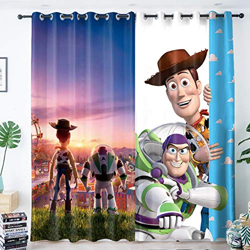 yug Curtain Nordic Children'S Room Boy Bedroom Bay Window French Window Modern Decoration Japanese Cartoon Toy Story Shading Anti-Noise