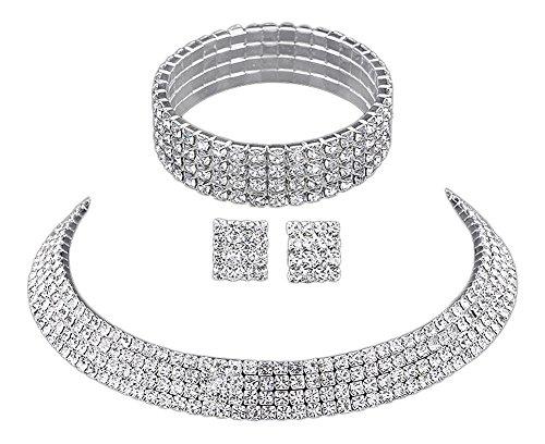 3 tlg. Set Strass Halskette Strasshalsband + Armband + Strassohrringe Silber