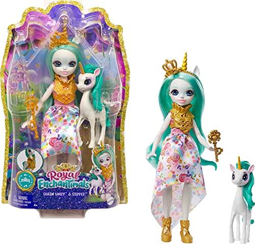 Royal Enchantimals Reina Unity y Stepper, muñeca unicornio con mascota...