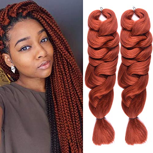 Christmas Gifts 2 Pack Jumbo Braiding Hair 350# Color xpression Braiding Fiber Hair Extensions African Jumbo Braids for Twist Corchet (165g/pcs, 84inch,350#)