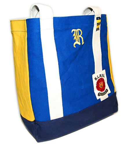 Polo Ralph Lauren Rugby Vintage Canvas Carryall Tote Bag Blue Navy Yellow