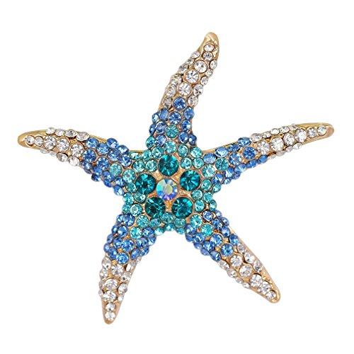 YAZILIND Fashion Color Starfish Inlaid Rhinestones Alloy Brooch Pins Women Girls Accessories(Blue)