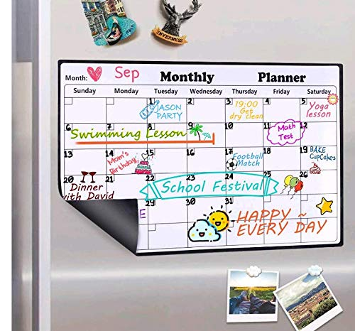 Homein Magnetic Dry Erase Calendar for Refrigerator, 2019-2020 Monthly Planner Kitchen Magnets Large Whiteboard Organizing Calendar Family, 16.9 X 11.8...