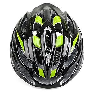 24Vents Ciclismo Casco Casco para bicicleta especializado Ultra Light EPS transpirable seguridad casco para mujeres y hombres niños niñas, Black Green