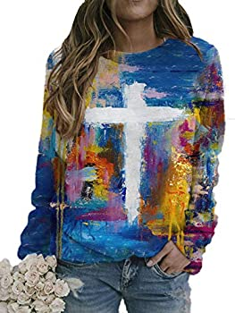 Women s Oil Painting Faith Jesus Cross Printed Casual Sweatshirt Long Sleeve Printing O-Neck Pullover Top Blouse