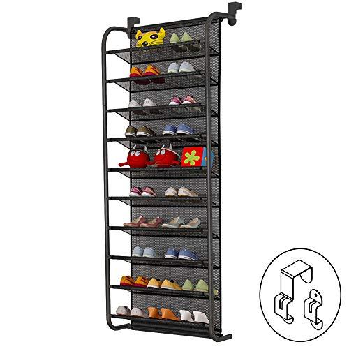 TZAMLI 10-Tier Schuhregal über der Tür Shoe Organizer Hanging Shoe Storage Shelf Starke Metallhaken für Closet Pantry (Schwarz, 56 x 21 x 151cm)