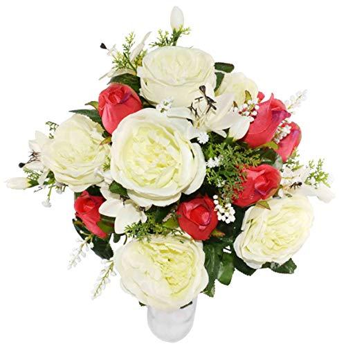 Herran Ramo De Rosas, Ramo De Lily Gypsophila Artificial Flor Artificial, Decoraciones De Mesa para La Oficina En El Hogar para Fiestas En El Jardín